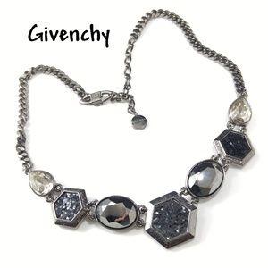 Givenchy Black Crystal Hematite Gunmetal Necklace